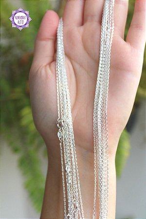 Corrente Cadeado para Pingente (Prata 925) 45 cm