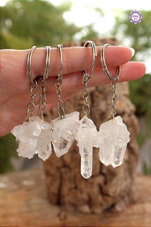 Chaveiro Drusa de Quartzo (de 11g a 18g) | Cristal de Limpeza, Purificação e Cura