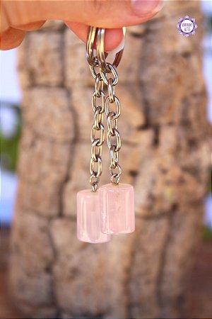 Chaveiro de Quartzo Rosa 15g | Pedra do Amor e Cura Emocional