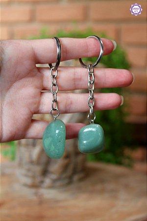 Chaveiro de Quartzo Verde rolado | Cristal de Cura e Manifestação