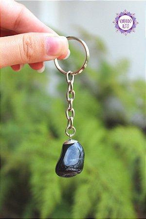 Chaveiro Turmalina Negra Rolada 17g | Pedra de Proteção e Purificação!