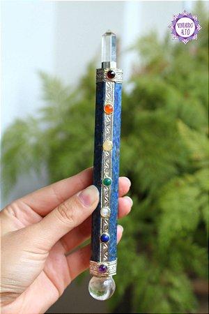 Bastão Atlante de Cristal e Lápis-Lazúli 134g | Cristal da Habilidade Psíquica, Purificação e Cura