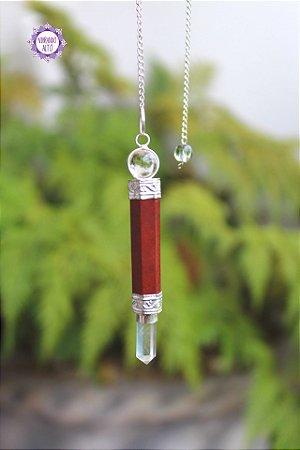Pêndulo Mini Varinha de Jaspe Vermelho e Quartzo 12g   Pedra da Memória e Energia Kundalini!