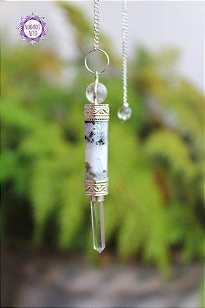 Pêndulo Mini Varinha de Cristal e Pedra da Lua Natural 13g | Pedra da Autodescoberta e Intuição!