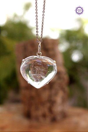 Pingente Coração de Quartzo (Garra em Prata 950) | Cristal de Limpeza, Purificação e Cura