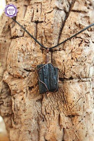 Pingente Turmalina Negra com Cordão Preto Regulável (Fio Cobreado) | Pedra de Proteção e Purificação!
