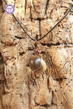 Pingente Citrino Natural com Cordão Preto Regulável (Fio Cobreado) | Cristal da Manifestação, Prosperidade e Criatividade!