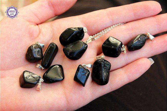 Pingente Pequeno Turmalina Negra (Pino Prateado) | Pedra de Proteção e Purificação