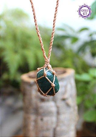 Castroado de Quartzo Verde com Cordão Claro Ajustável | Cristal de Cura e Manifestação