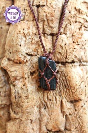 Castroado de Turmalina Negra com Cordão Ajustável | Pedra de Proteção e Purificação!