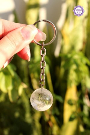 Chaveiro Esfera de Quartzo 21g | Cristal de Limpeza, Purificação e Cura