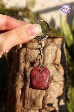Chaveiro Rodonita 29g | Pedra da Essência e Missão de Vida