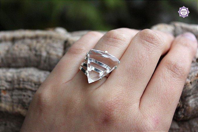 Anel de Quartzo em Prata 950 (Ajustável ao dedo) para Limpeza e Purificação da Aura