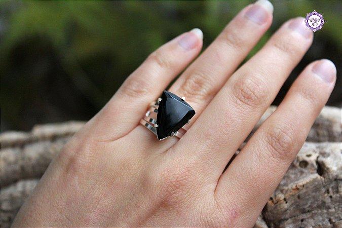Anel de Obsidiana Negra em Prata 950 (Ajustável ao dedo) para Proteção e Eliminação da Negatividade