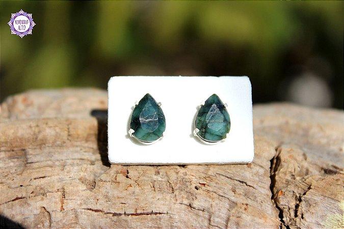 Brinco Gota de Esmeralda em Prata 950 | Pedra do Amor Divino, Cura e Prosperidade