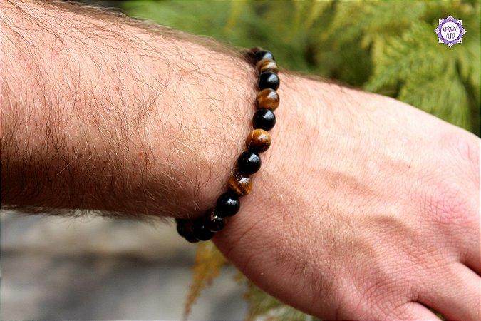Pulseira Unissex Obsidiana Negra e Olho de Tigre para Equilíbrio e Eliminação da Negatividade