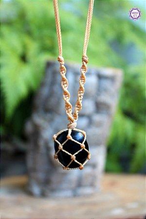 Castroado de Obsidiana Negra com Cordão Ajustável | Pedra de Proteção Psíquica