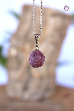 Pingente Turmalina Rosa (Pino Prateado) | Pedra do Amor e Cura Emocional