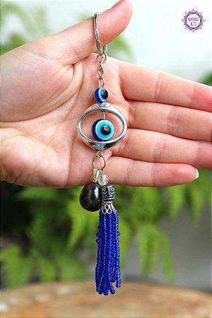 Chaveiro Olho Grego e Hematita 16g | Proteção e Integração das Energias