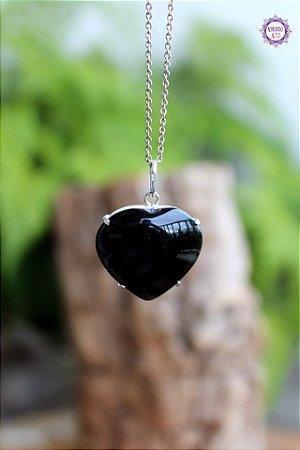 Pingente Coração Obsidiana Negra (Envolto em Prata 950) | Pedra para Proteção Psíquica e Energética