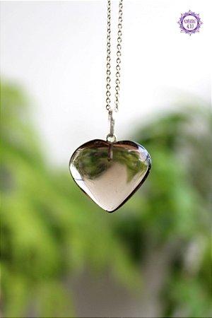 Pingente Coração Quartzo Fumê (Prata 950) | Cristal para Proteção do Campo Energético