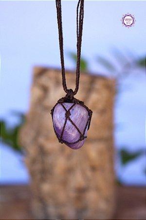 Castroado de Ametista com Cordão Marrom Ajustável | Cristal de Proteção e Transmutação