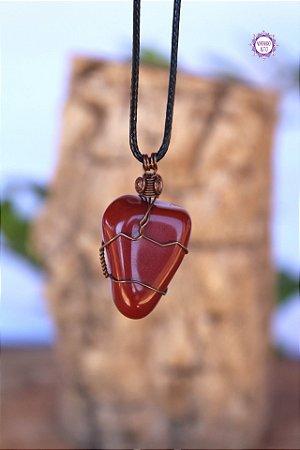 Colar Jaspe Vermelho com Cordão Ajustável (Arame Cobreado) | Pedra da Memória e Energia Kundalini