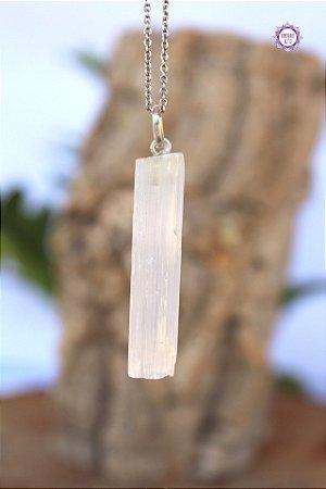 Pingente Canudo Selenita (Prata 950) | Pedra de Ativação Espiritual