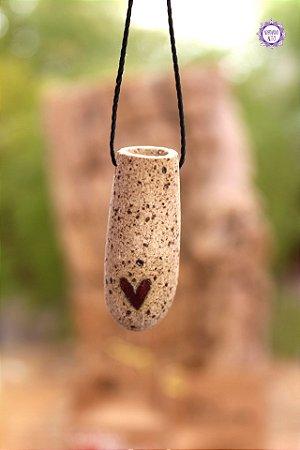 Colar Afeto | Difusor Pessoal de Cerâmica com Cordão Preto Ajustável
