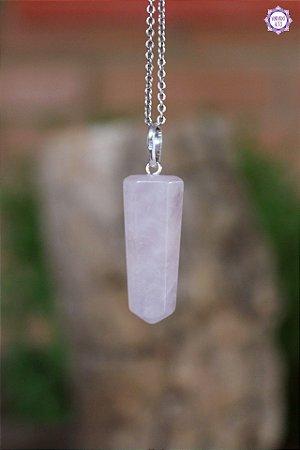 Pingente Pontinha Quartzo Rosa (Prata 950) | Pedra do Amor e Cura Emocional