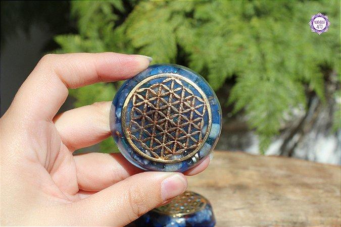 Orgonite Flor da Vida (Dourado) com Quartzo e Quartzo Azul