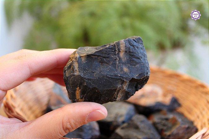 Ônix Preto Bruto (de 200g a 220g) | Pedra da Disciplina e Força Interior