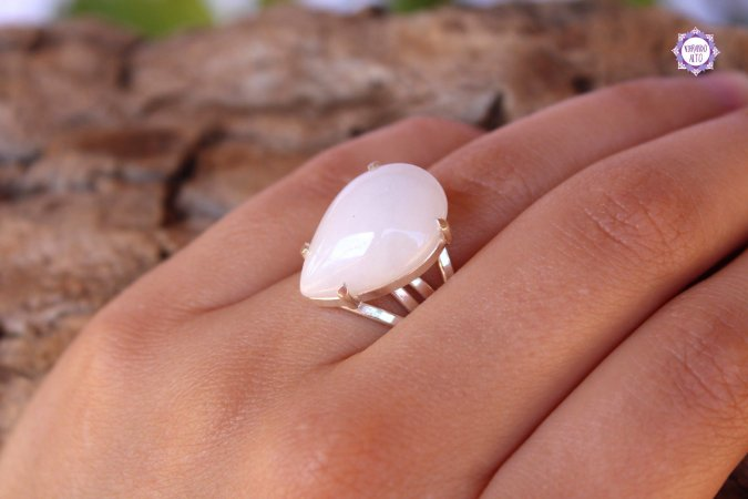 Anel de Quartzo Branco Leitoso em Prata 950 (Ajustável ao dedo) para Repelir Energias Negativas