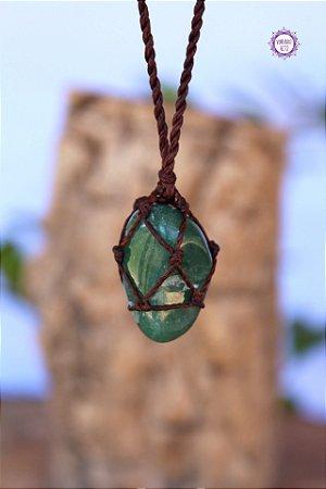 Castroado de Quartzo Verde com Cordão Marrom Ajustável | Cristal de Cura e Manifestação