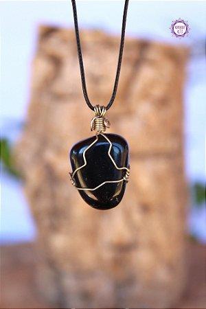 Colar Ônix com Cordão Ajustável (Arame prateado) | Pedra da Disciplina e Força Interior