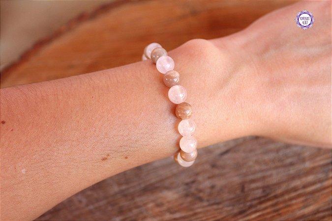 Pulseira Feminina de Quartzo Rosa e Pedra da Lua Natural para Viagem Interior e Limpeza Emocional