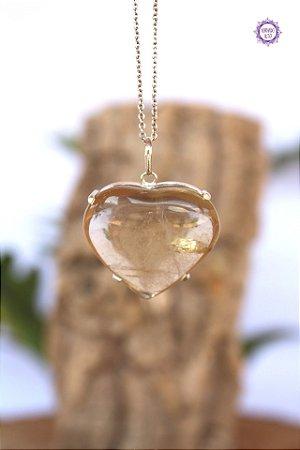 Pingente Coração de Citrino Natural (Prata 950) | Cristal da Manifestação, Prosperidade e Criatividade