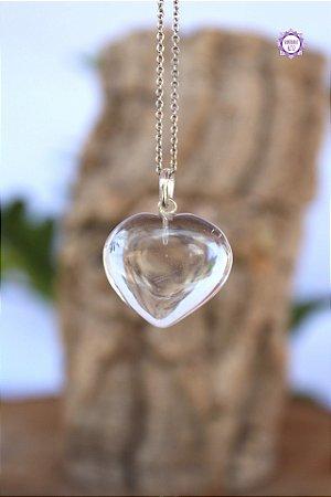 Pingente Coração de Quartzo (Prata 950) | Cristal de Limpeza, Purificação e Cura