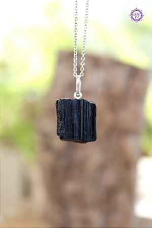 Pingente Turmalina Negra (Prata 950) | Pedra de Proteção e Purificação