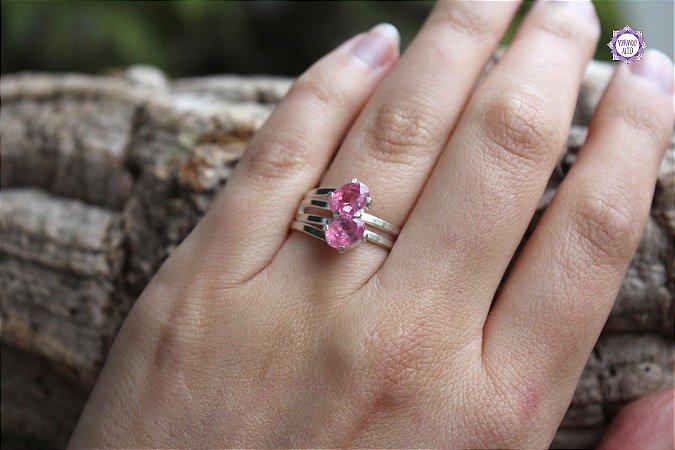 Anel de Turmalina Rosa Facetado em Prata 950 (Ajustável ao dedo) para Purificação Emocional