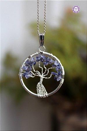 Pingente Árvore da Felicidade de Safira Azul | Cristal de Ativação Psíquica e Percepção Extrassensorial