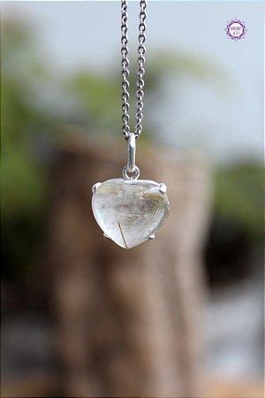 Pingente Coração Quartzo Rutilado (Prata 950) | Cristal de Percepção Expandida e Manifestação