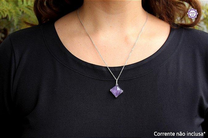 Pingente Pirâmide Ametista (Prata 950)   Cristal de Proteção, Transmutação e Comunicação Divina