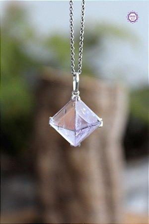 Pingente Pirâmide Ametista (Prata 950) | Cristal de Proteção, Transmutação e Comunicação Divina