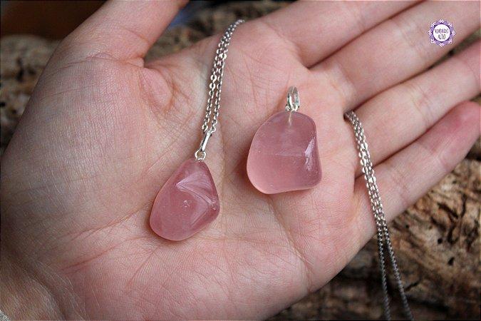 Pingente de Quartzo Rosa (Prata 950) | Cristal do Amor e Cura Emocional