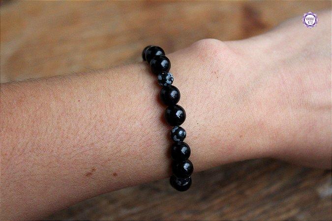 Pulseira Feminina de Obsidiana Negra, Obsidiana Floco de Neve e Turmalina Negra para Proteção e Purificação