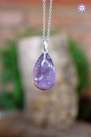 Pingente Gota de Ametista (Prata 950) | Cristal de Proteção, Transmutação e Comunicação Divina