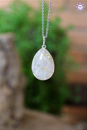 Pingente Gota Quartzo Rutilado (Prata 950) | Cristal de Percepção Expandida e Manifestação
