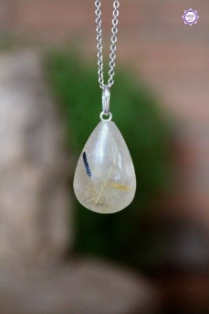 Pingente Gota de Quartzo Rutilado com Quartzo Turmalinado (Prata 950) | Cristal de Percepção Expandida e Purificação