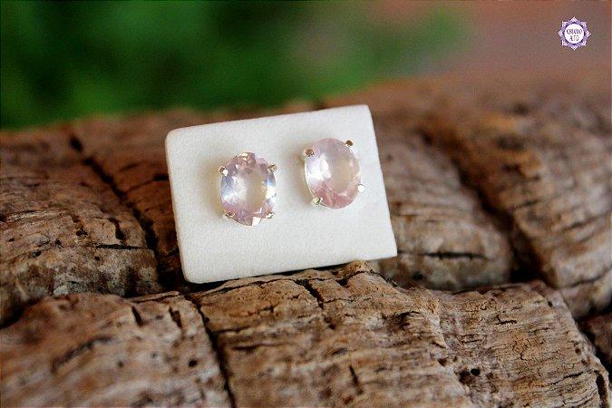 Brinco Oval de Quartzo Rosa (Prata 950) | Cristal do Amor Divino e Cura Emocional
